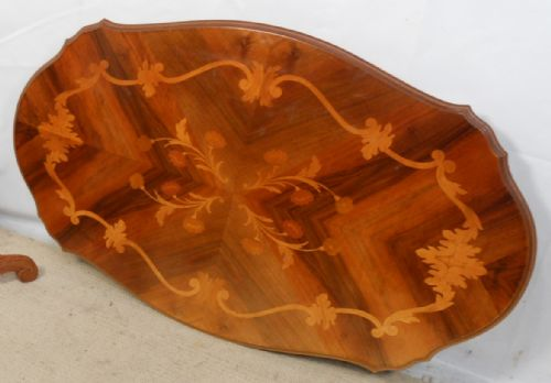 Large Shaped Top Walnut Pedestal Coffee Table